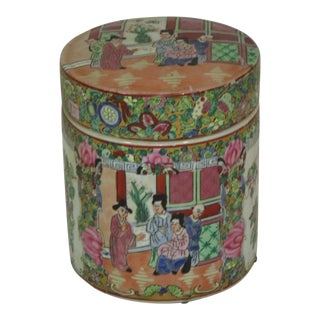 Chinese Famille Rose Hand Painted Covered Jar For Sale