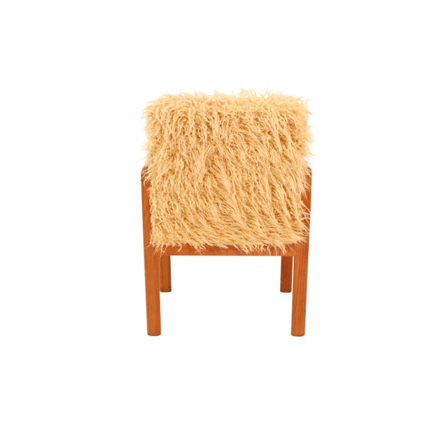 Mid-Century Modern Mid-Century Curated Danish Teak Armchair With Mongolian Faux Fur 1970's Circa For Sale - Image 3 of 7