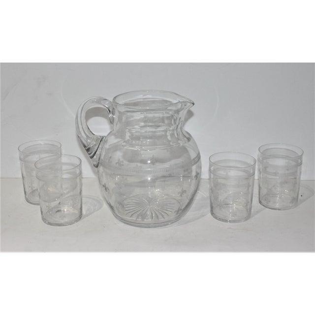 Late 20th Century Vintage Fleur De Lis Glass Pitcher and 4 Tumblers Iced Tea Lemonade - a Set For Sale - Image 5 of 13