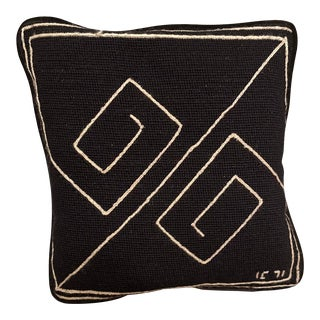 1970s Mid Century Modern Handcrafted Black and White Geometric Needlepoint Pillow With Velvet Back For Sale