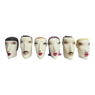 1980s French New Wave White Plaster Mannequin Heads - Set of 6