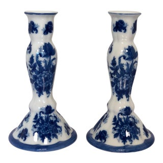 1990s Chinioserie Blue & White Porcelain Candlesticks - a Pair For Sale