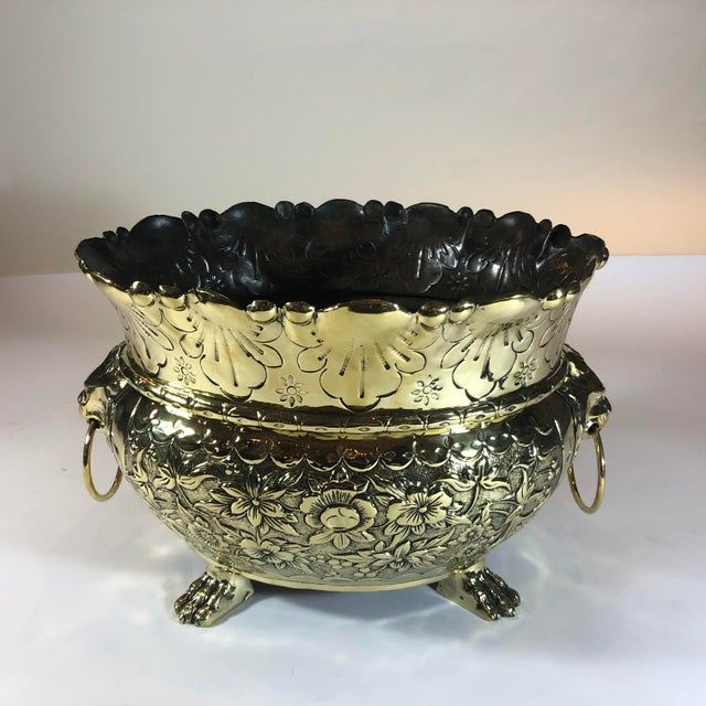 Antique Dutch Brass Repousse Jardiniere With High Sides, Circa 1860.