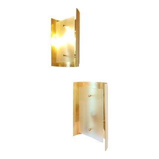 D'Lightus bespoke pair of brass wall sconces, with opaque glass