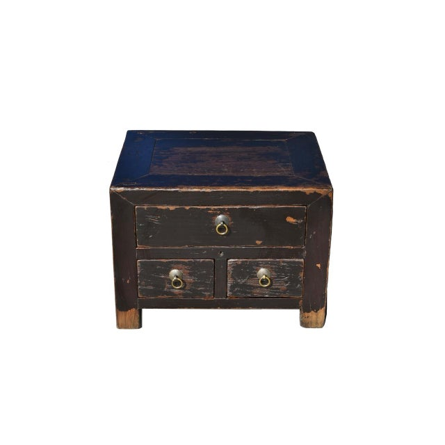 Antique Small 3 Drawers Heavy Chest For Sale - Image 13 of 13