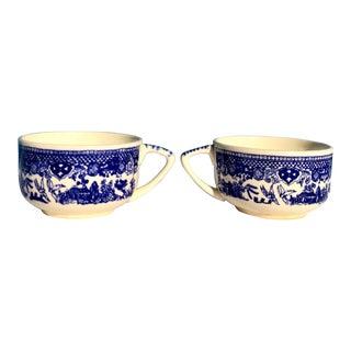 1930s Vintage Blue Willow Teacup Set - a Pair For Sale