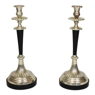 Large Black and Silver Candlesticks - a Pair For Sale