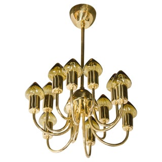 Sophisticated Mid-Century Modernist Twelve-Arm Chandelier by Hans Agne Jakobsson For Sale