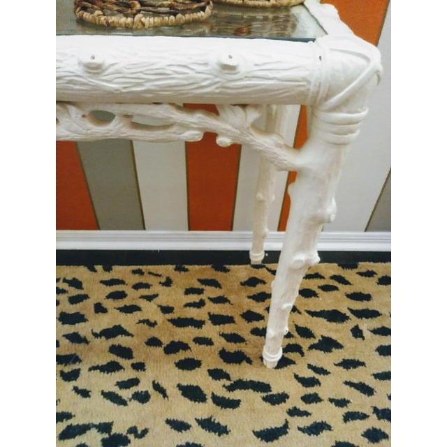 Jonathan Adler Faux Bois Palm Beach Regency Twig Console Sofa Hall Table For Sale - Image 4 of 8