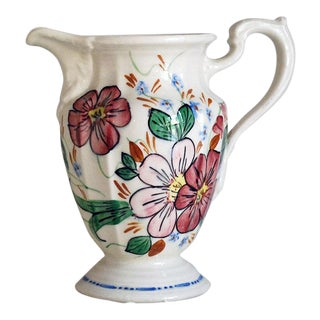 Mid-Century Shabby Chic Porcelain Floral Pitcher For Sale
