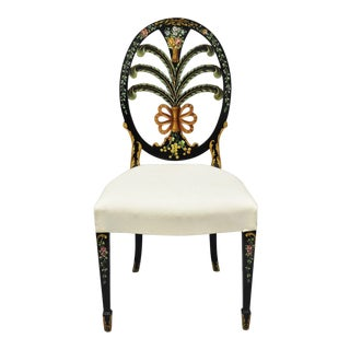 Karges Hepplewhite Adams Style Hand Painted Prince of Wales Plume Carved Black Side Chair