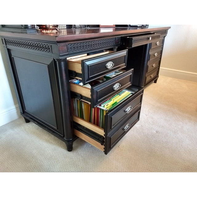 Brown Home or Office Desk Credenza Hutch Combination - a Great Piece in Great Condition at a Great Price For Sale - Image 8 of 13