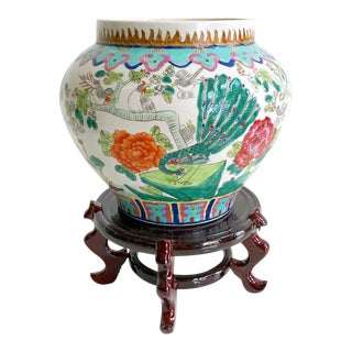 Vintage Multi-Colored Chinoiserie Style Ginger Jar Vase on Stand For Sale