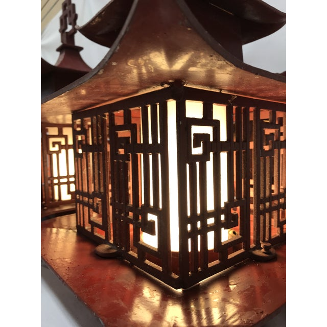 Asian Metal Outdoor Pagoda Lattice Sconces - A Pair For Sale - Image 3 of 13