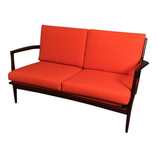 1960s Kofod Larsen for Selig Orange Upholstered Walnut Settee For Sale