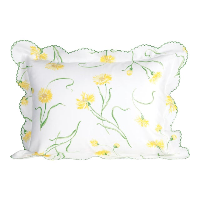 Blossoming Sham in Yellow in King For Sale