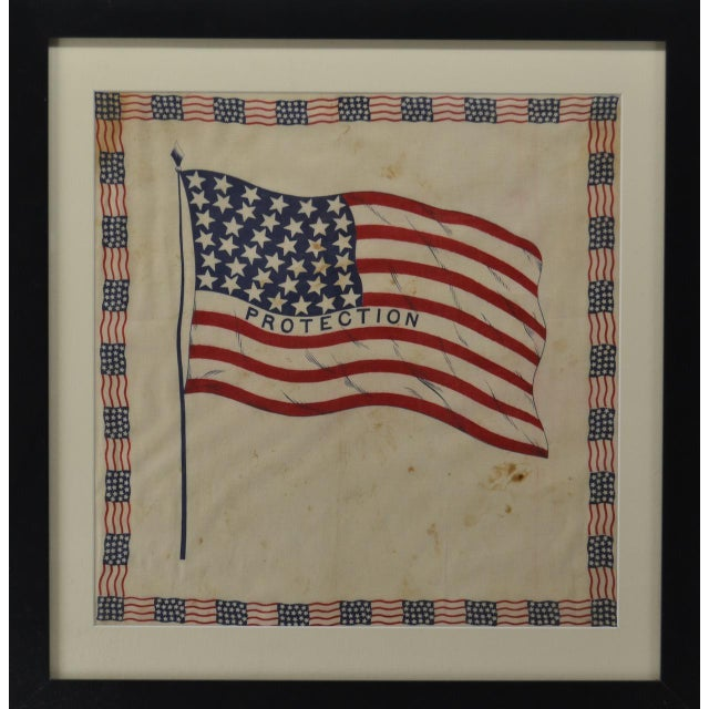 Authentic antique 38 Star American Flag bunting. Circa 1876. Made of cotton. Surrounded by 32 18 star flags as the border....