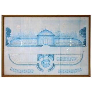 Pale Blue Architectural Print 1 Framed For Sale