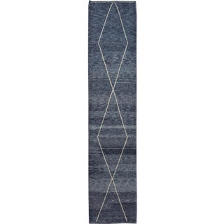 21st Century Modern Moroccan Style Wool Runner Rug 3 X 14 For Sale