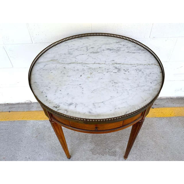 Louis XVI Style Carrera Marble-Top Bouillotte Table, Stamped Made in France For Sale - Image 9 of 10