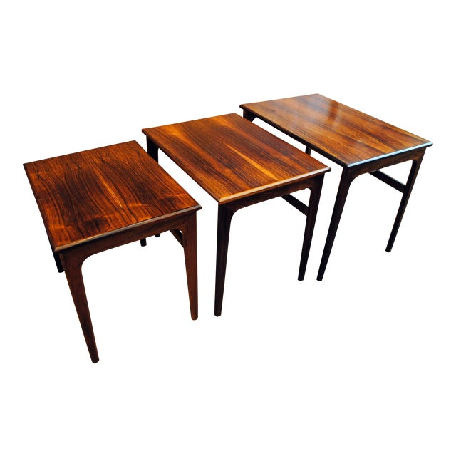 Danish Rosewood Nesting Tables - Set of 3 - Image 1 of 9