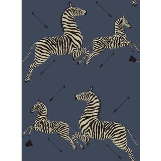 Red by Scalamandre Peel & Stick Wallpaper, Zebras, Denim For Sale