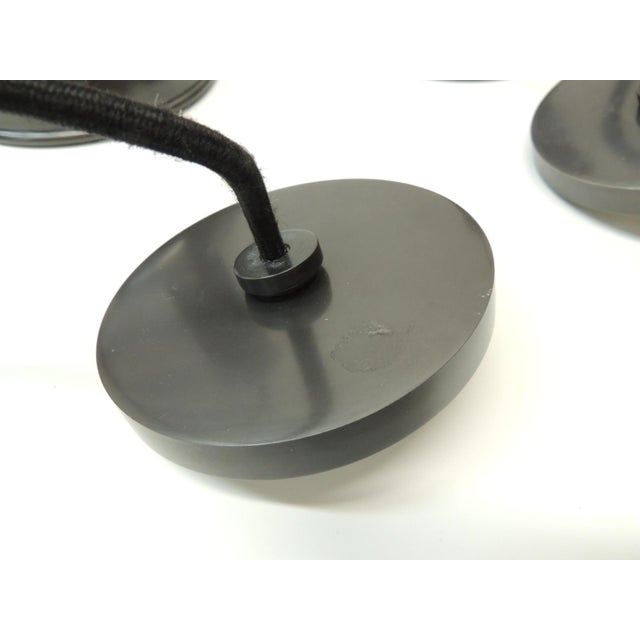 Mid-Century Modern Pair of Pendant Lights in Gunmetal Color With a Cloth Covered Cord For Sale - Image 3 of 6