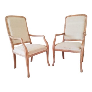 Hand Carved Louis XV Fauteuil a La Reine Chairs - a Pair