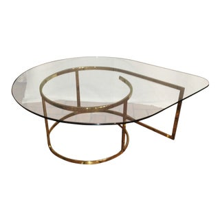 Hollywood Regency Brass & Glass Coffee Table For Sale