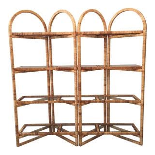 Vintage Palm Beach Folding Rattan Etagere