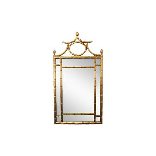 1970's Pagoda Top Faux Bamboo Gold Mirror For Sale