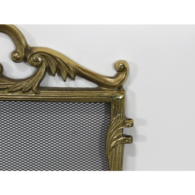 1960s Vintage Solid Brass Fireplace Screen For Sale - Image 5 of 6
