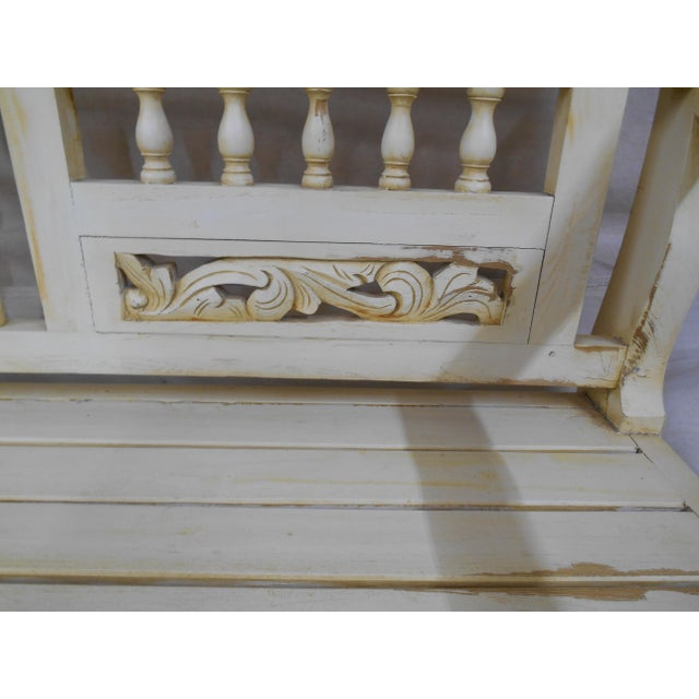 Late 20th Century Painted and Distressed French Country Garden Bench For Sale - Image 9 of 13