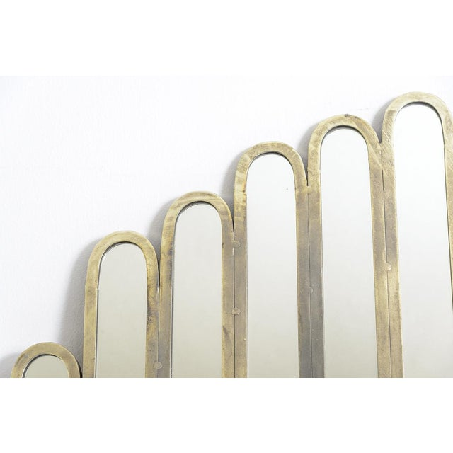 1970s Modern Unusual Unique Metal Mirrors, A-Pair For Sale - Image 5 of 9