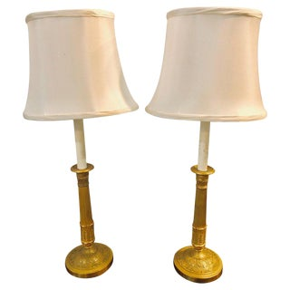 Pair of Empire Bronze Candleprick 19th Century Table Lamps With Custom Shades For Sale
