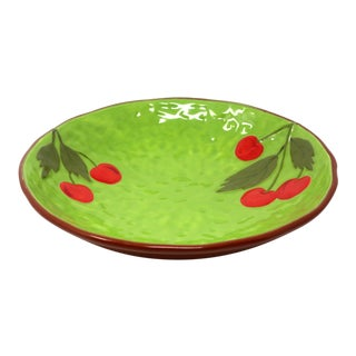 Ceramic Green Cherries Bowl For Sale
