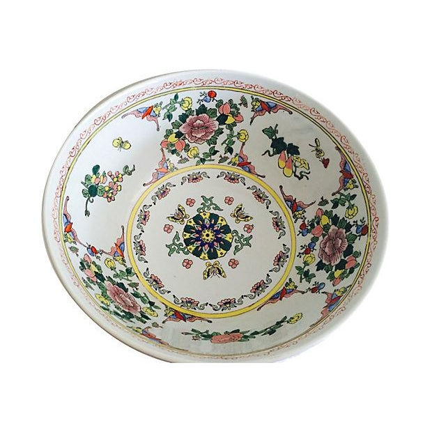 Asian Large Chinese Botanical Bowl For Sale - Image 3 of 4