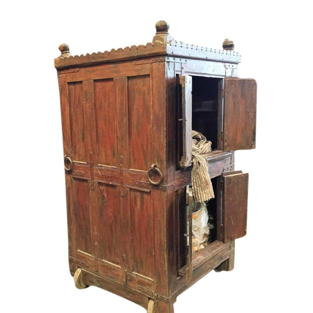 Asian Antique Bar Almirah Red Cabinet Vintage Indian Armoire on Wheels For Sale - Image 3 of 4