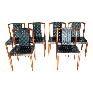 1960s Mid Century Modern Tomlinson Sophisticate Walnut and Leather Strap Dining Chairs - Set of 6