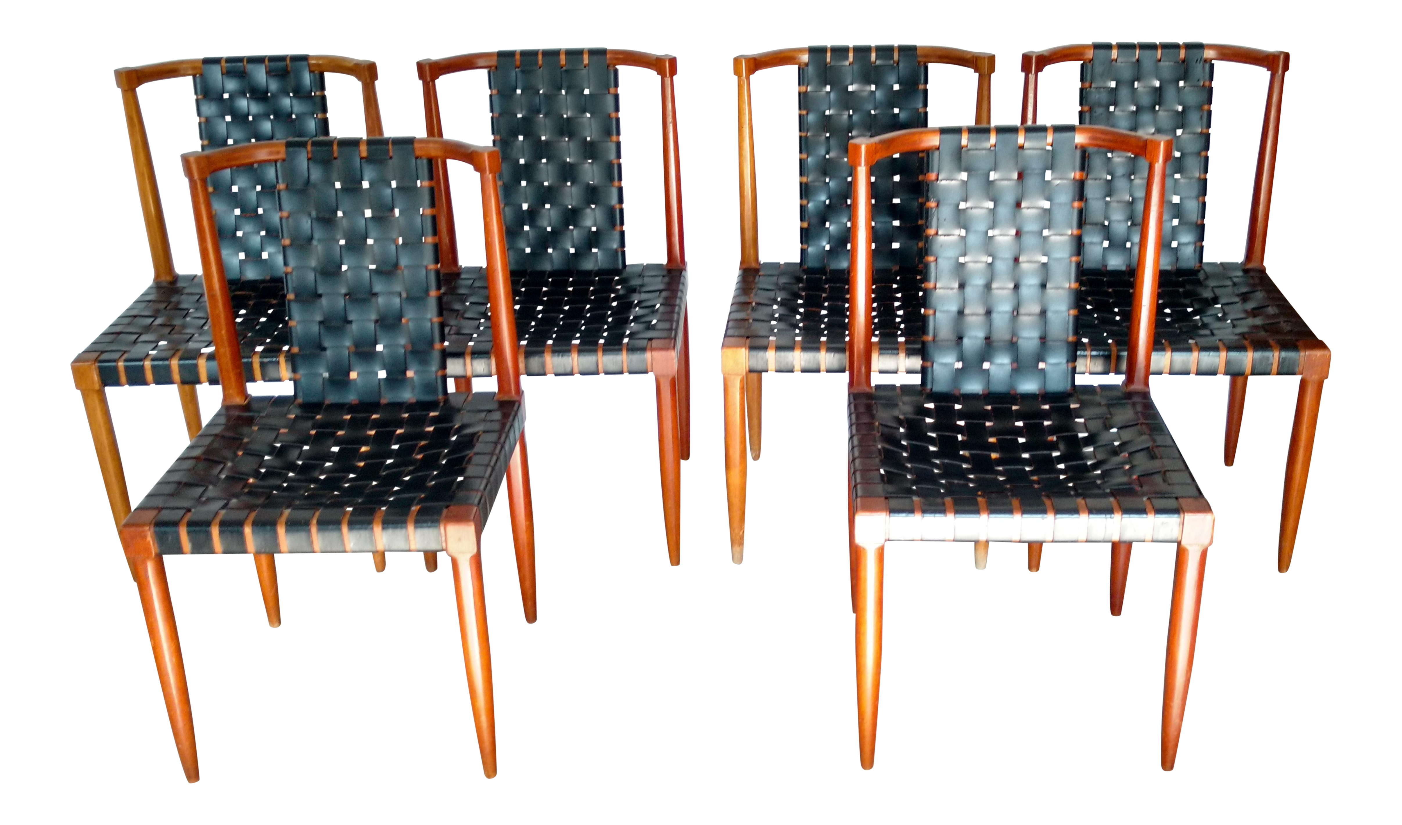Etonnant 1960s Mid Century Modern Tomlinson Sophisticate Walnut And Leather Strap  Dining Chairs   Set Of 6
