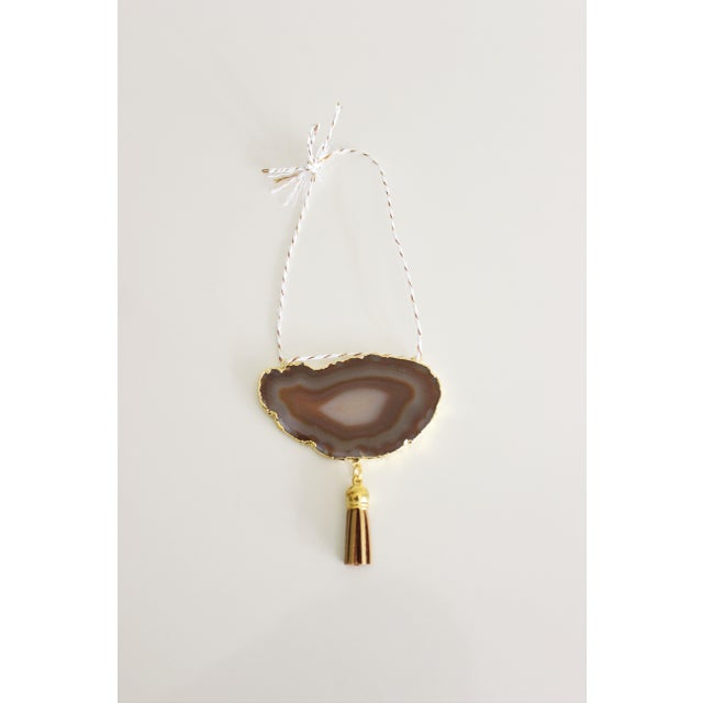 Modern Boho Natural & White Agate Holiday Ornament - Image 2 of 6