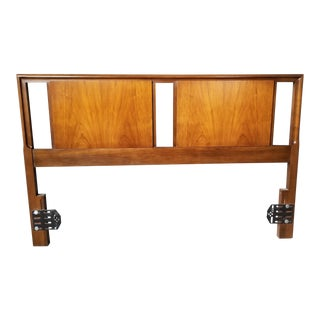 Mid Century United Furniture Walnut Full/Queen Headboard For Sale