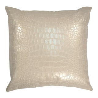 "Piper Collection Creamy Faux Crocodile ""Jagger"" Pillow For Sale"