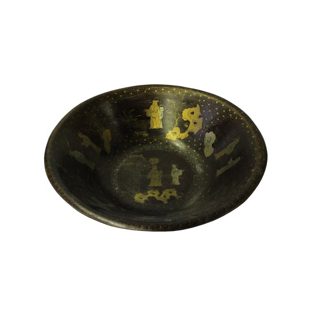 Chinese Hand Painted Golden Scenery Graphic Brown Lacquer Wood Bowl For Sale