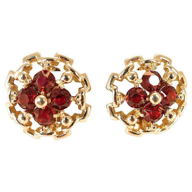 Reja Gilded Sterling Ruby Crystal Earrings, 1940s For Sale In Los Angeles - Image 6 of 6