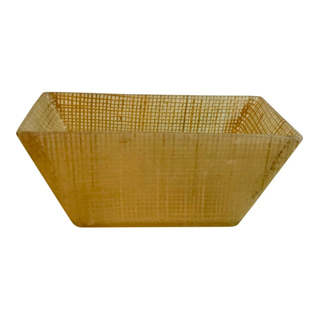 Vintage Mid Century Lucite and Twine Planter For Sale