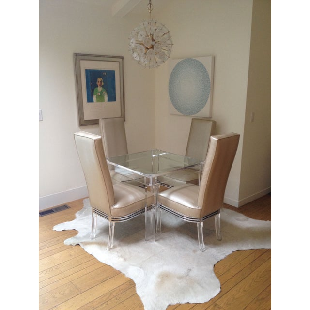 Vintage Lucite Upholstered Chairs - Set of 4 - Image 4 of 4
