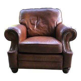 Rustic Overstuffed Leather Barcalounger Recliner For Sale