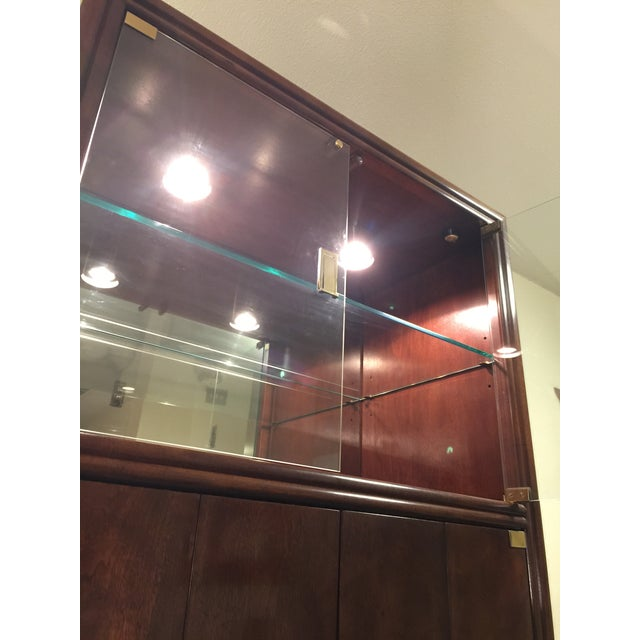 Henredon Campaign Wall Unit W/ Curio Display Cabinets, Bookshelves and Dual Door Cabinet - 4 Pc. Set For Sale - Image 9 of 13