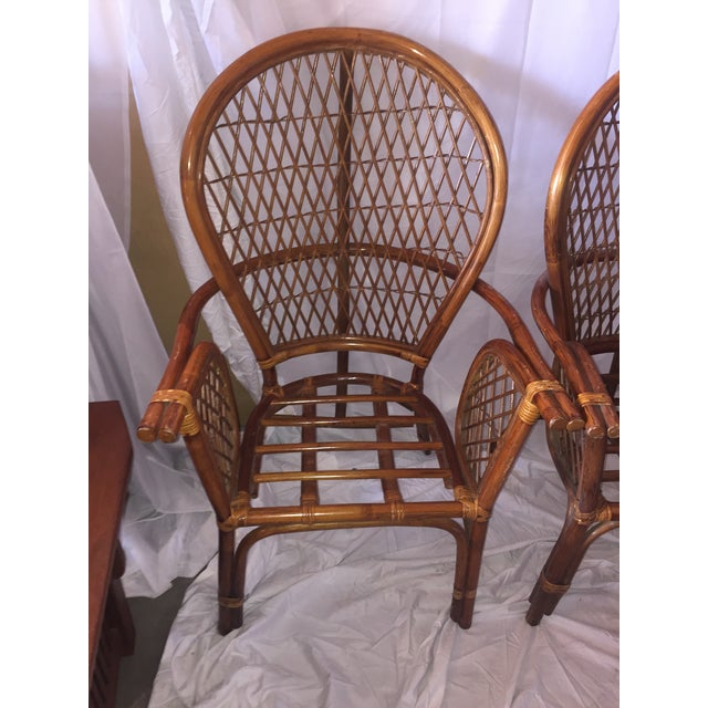 Chinoiserie Chinese Chippendale Rattan Chairs - a Pair - Image 2 of 11